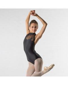 Ballet Rosa Berenice - Hochgeschlossenes, ärmelloses Trikot mit Spitzeneinsätzen