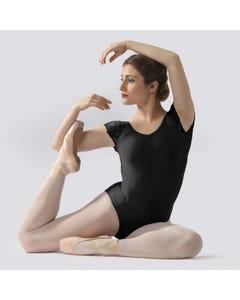 Ballet Rosa Josephine Trikot mit kurzen Spitzenärmeln und rundem Rücken