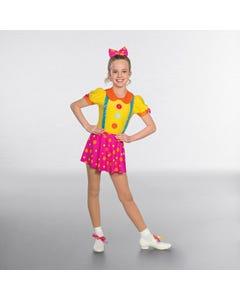 1st Position Buntes Clown-Kostüm mit großen Knöpfen
