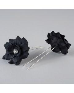 Haarnadeln mit Stoffblume (Paar)