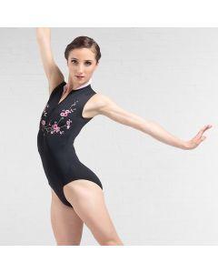 Ballet Rosa Ciaravola floral besticktes Trikot mit Reißverschluß vorne