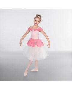 1st Position Romantisches rosa Chiffon-Kleid mit Drapierung