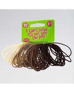 Blond-Braune Haargummis - 60 Stück