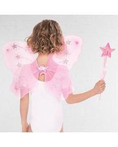 Flügel- und Zauberstab-Set mit Sternenmuster