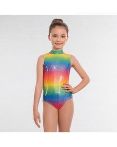 1st Position Jill Polo Neck Printed Leotard Rainbow Foil