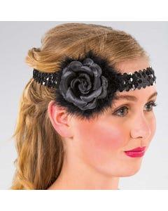 Haarband mit Pailletten und Blume