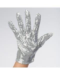 Doppelseitiger Paillettenhandschuh in silber
