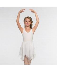 Weißer Zipfelrock mit silbernen Sternchen - Kinder Einheitsgröße