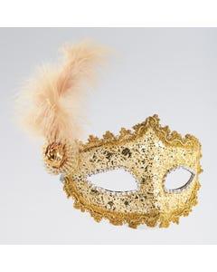 Goldfarbene Maske mit geflochtener Bordüre, Feder und Edelsteinimitat