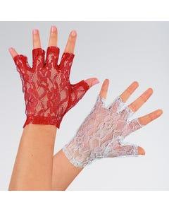 Fingerlose kurze Spitzenhandschuhe Rot